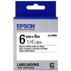 Картридж с лентой Epson LK2WBN принтеров LW-300/400/400VP/700 Std Blk/Wht 6mm/9m