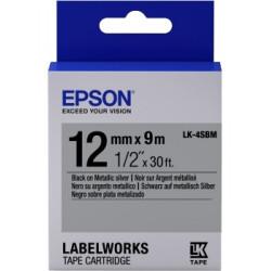 Картридж с лентой Epson LK4SBM принтеров LW-300/400/400VP/700 Metallic Blk/Siv 12mm/9m
